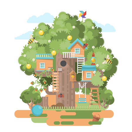 Treehouse in colorful flat modern style