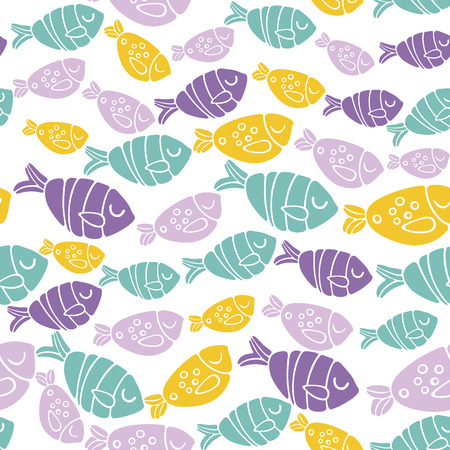 Seamless vector pattern with colorful fishes in scandinavian minimalist modern style.