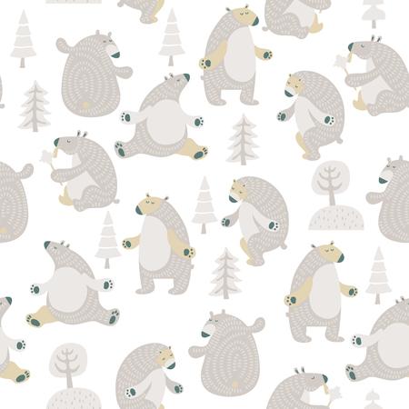 Seamless vector pattern with colorful bears in scandinavian minimalist modern style. Stock Illustratie