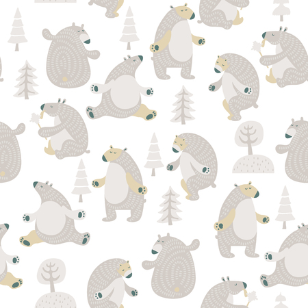 Seamless vector pattern with colorful bears in scandinavian minimalist modern style. Çizim