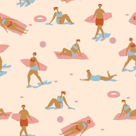 Seamless vector pattern with people on beach in scandinavian style. Poster about sunbathing. 일러스트