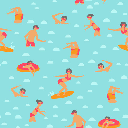 Seamless vector pattern with swimming people in scandinavian style.