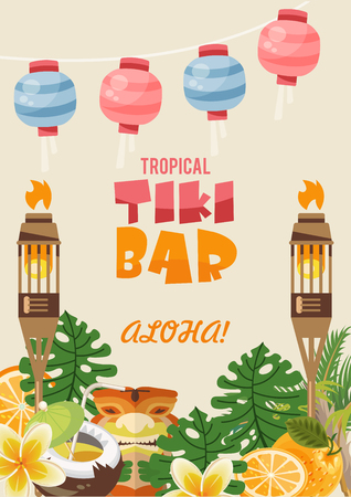 Hawaii vector travel illustration with colorful background. Summer template. Beach resort. Sunny vacations. Tiki bar