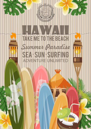 Hawaii vector travel illustration with colorful background. Summer template. Beach resort. Sunny vacations