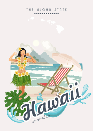 Hawaii vector travel illustration with colorful background. Summer template. Beach resort. Sunny vacations Imagens - 98920487