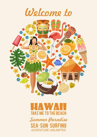 Hawaii vector reizen illustratie met kleurrijke achtergrond. Zomer sjabloon. Badplaats. Zonnige vakanties Stock Illustratie