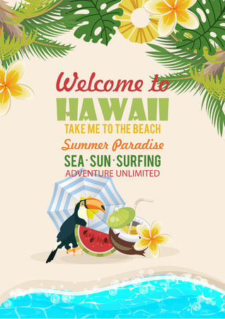 Hawaii vector travel illustration with colorful background. Summer template. Beach resort. Sunny vacations Foto de archivo - 98920494