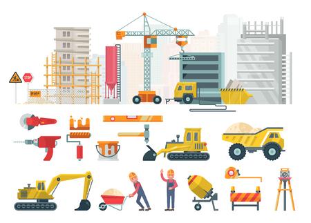 건설 벡터 평면 그림입니다. 현대적인 스타일의 건물 포스터입니다. 다채로운 산업 템플릿 일러스트