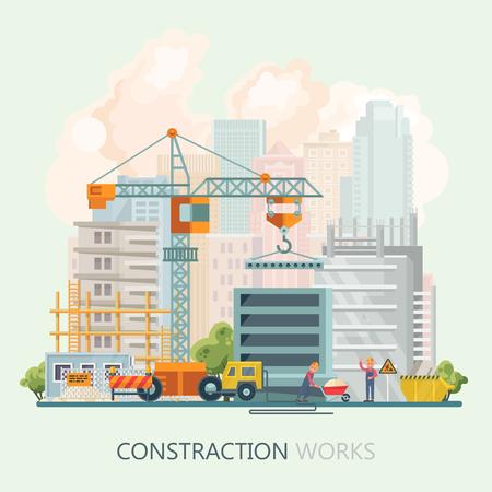 Construction vecteur plat illustration. affiche de bâtiment dans le style moderne . colorful modèle de l & # 39 ; industrie Banque d'images - 99489767