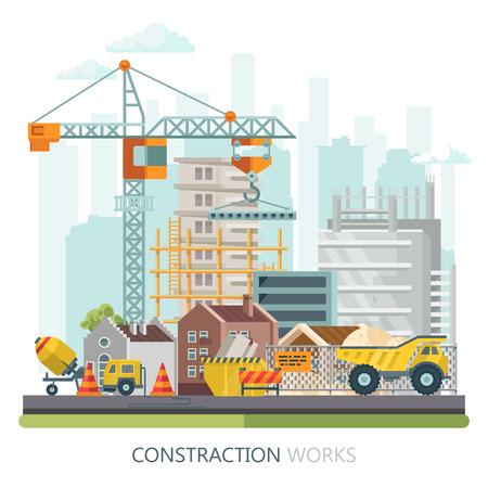 Płaskie ilustracji wektorowych budowy. Plakat budowlany w nowoczesnym stylu. Kolorowy szablon przemysłu Ilustracje wektorowe