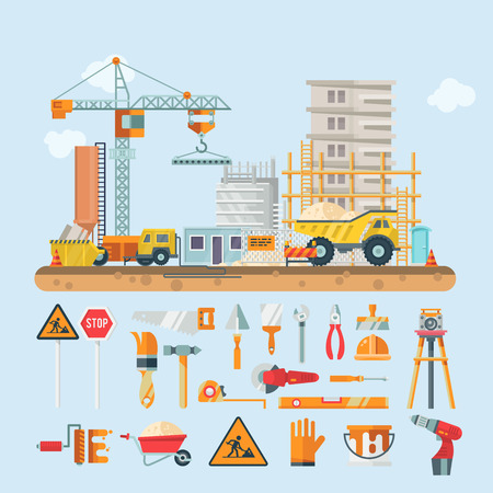 Construction vector flat illustration. Building poster in modern style. Colorful industry template