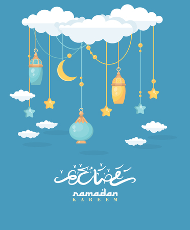 Creative greeting card design for holy month of Muslim community festival Ramadan Kareem with moon and hanging lantern and stars. Иллюстрация