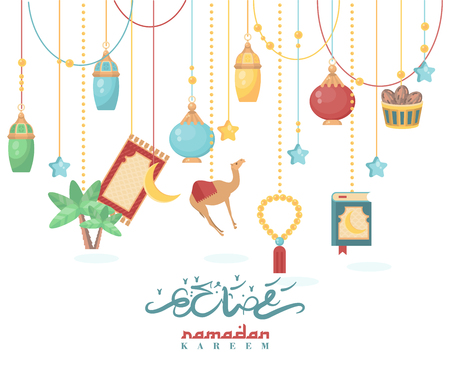 Creative greeting card design for holy month of muslim community festival Ramadan Kareem with hanging lantern and stars.