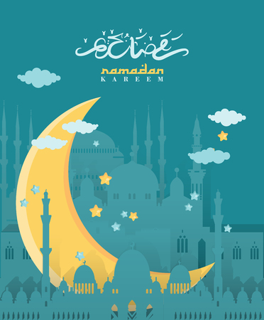 Creative greeting card design for holy month of Muslim community festival Ramadan Kareem with moon, clouds and stars.