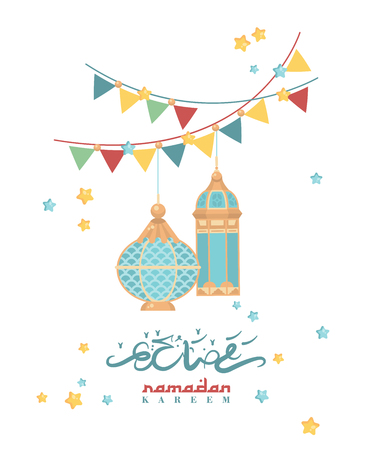 Creative greeting card design for holy month of Muslim community festival Ramadan Kareem with hanging lantern and stars. Illustration