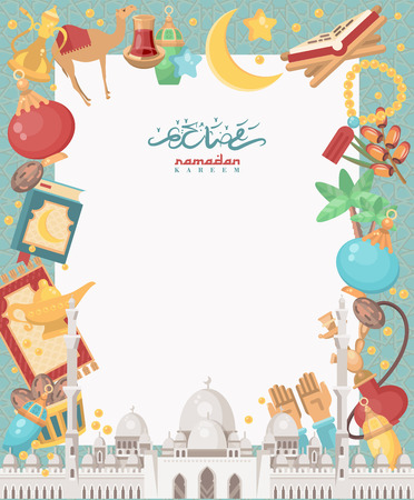 Creative greeting card design for holy month of Muslim community festival Ramadan Kareem with moon and hanging lantern and stars. Vettoriali