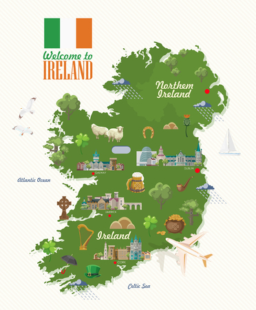 Ireland vector illustration with landmarks, irish castle, green fields.