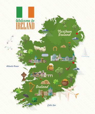 Ilustración de vector de Irlanda con monumentos, castillo irlandés, campos verdes.