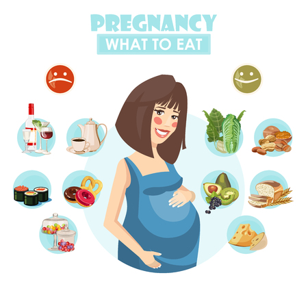 Pregnant woman. Vector colorful illustration with pregnancy concept. Healthy food 일러스트