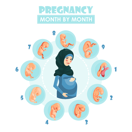 Muslim pregnant woman. Vector colorful illustration with pregnancy concept