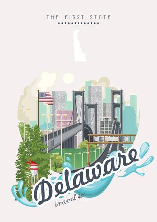 Delaware vector illustration with colorful detailed landscapes in modern flat design Ilustração