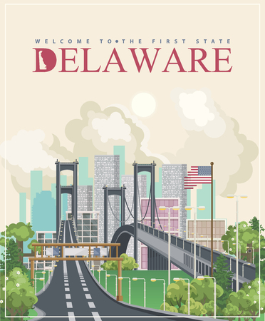 Delaware vector illustration with colorful detailed landscapes in modern flat design Illustration