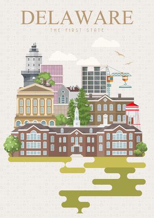 Delaware vector illustration with colorful detailed landscapes in modern flat design 向量圖像