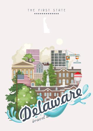 Delaware vector illustration with colorful detailed landscapes in modern flat design Stock Illustratie