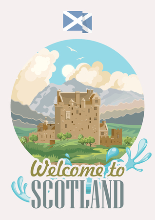 Scotland travel vector in modern style