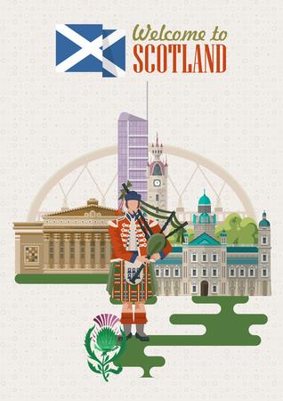 Scotland travel vector in modern style. Scottish landscapes  イラスト・ベクター素材