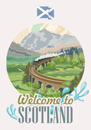 Scotland travel vector in modern style. Scottish landscapes Illustration