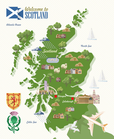 Scotland travel vector in modern style. Scottish landscapes Ilustrace