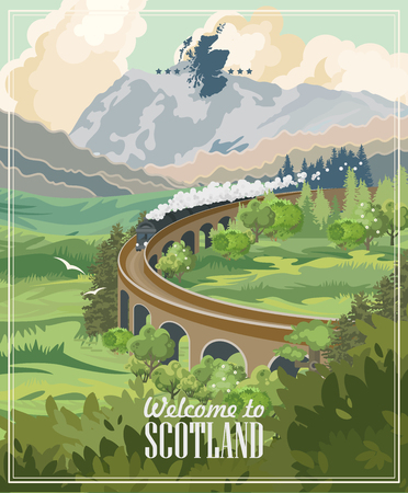 Scotland travel vector in modern style. Scottish landscapes Vectores
