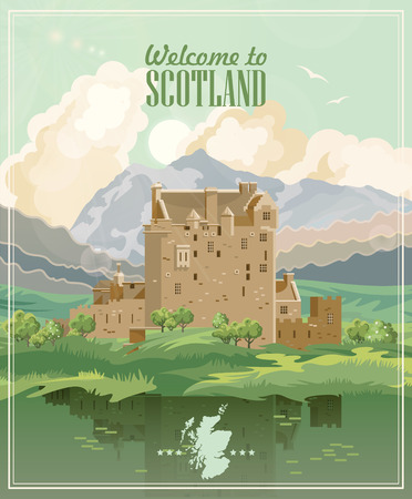 Scotland travel vector in modern style. Scottish landscapes Çizim
