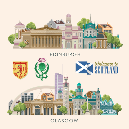Scotland travel vector in modern style. Scottish landscapes 일러스트