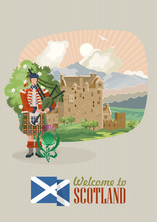 Scotland travel vector in modern style. Scottish landscapes Иллюстрация