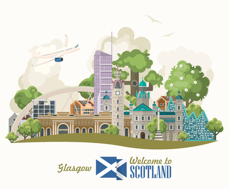 Scotland travel vector in modern style. Scottish landscapes Vettoriali