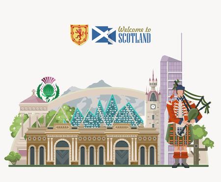Scotland travel vector in modern style. Scottish landscapes Illusztráció