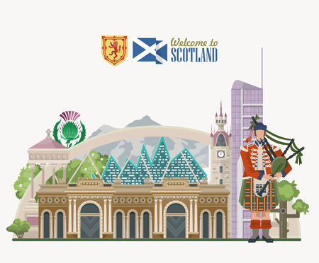 Scotland travel vector in modern style. Scottish landscapes 写真素材 - 104003831