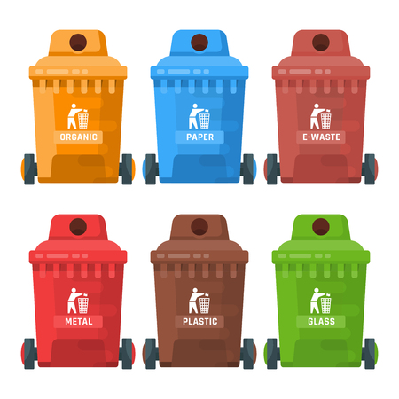 Garbage container vector illustration in modern style. Trash can set with rubbish. Çizim