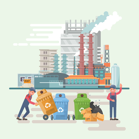 Garbage container vector illustration in modern style. Trash can set with rubbish. Refuse processing plant