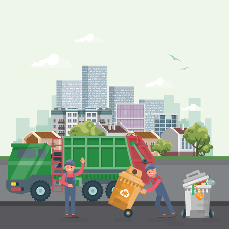 Garbage container vector illustration in modern style. Trash can set with rubbish. Truck with cleaner and scavenger Çizim