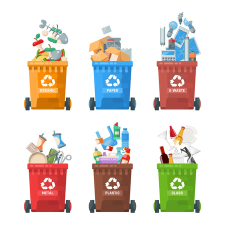 Garbage container vector illustration in modern style. Trash can set with rubbish. Иллюстрация