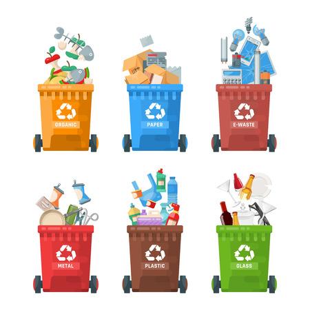 Ilustracja wektorowa pojemnika na śmieci w nowoczesnym stylu. Kosz na śmieci ze śmieciami.