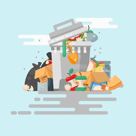 Garbage container vector illustration in modern style. Trash can set with rubbish