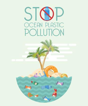 Stop ocean plastic pollution vector illustration in flat design