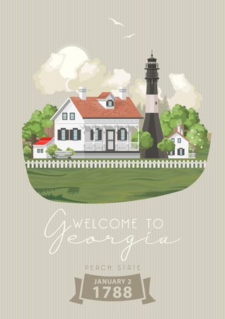Georgia USA postcard. Peach state vector poster. Travel background in flat style.