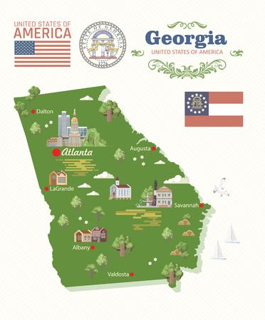 Postal de Georgia Estados Unidos. Cartel de vector de estado de melocotón. Fondo de viaje en estilo plano.