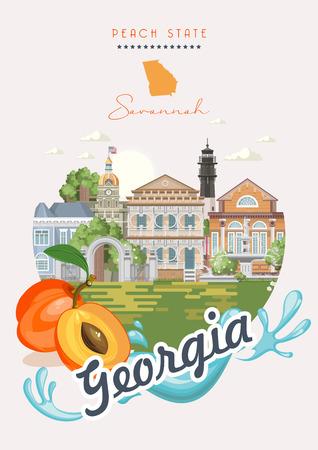 Georgia USA Postkarte. Pfirsich-Zustandsvektorplakat. Reisehintergrund im flachen Stil.