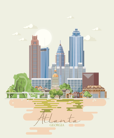Georgia USA postcard. Peach state vector poster. Travel background in flat style. Standard-Bild - 104267775
